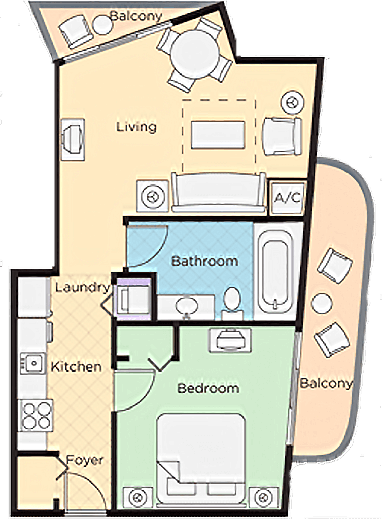 Image of floorplan for One Bedroom Suite Lower Level