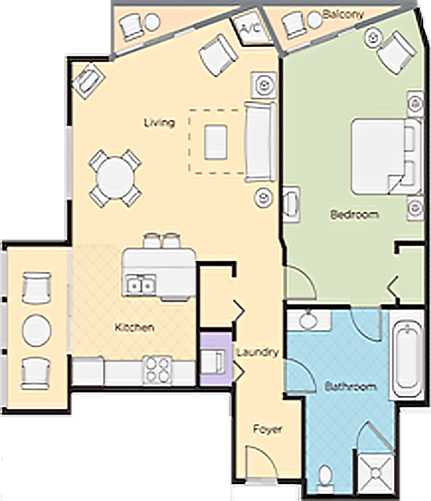 Image of floorplan for One Bedroom Deluxe Lower Level