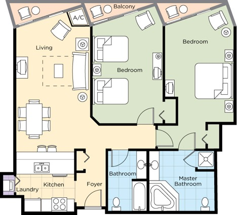 Image of floorplan for Two Bedroom Deluxe Lower Level