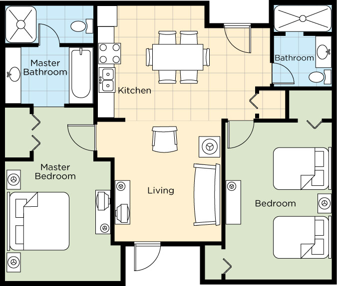 Image of floorplan for Two Bedroom Deluxe